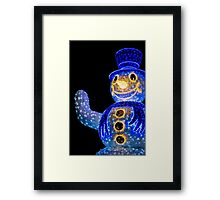 Blue Snowman Decoration Lights Framed Print