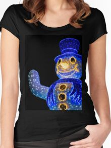 Blue Snowman Decoration Lights Women's Fitted Scoop T-Shirt