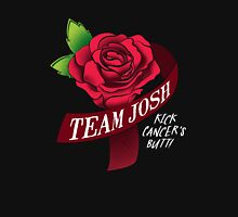 Team Josh Ribbon and Rose- White text for dark bkgs Womens Fitted T-Shirt