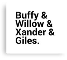 Buffy The Vampire Slayer Character Names Canvas Print