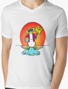 Global Warming Penguin Mens V-Neck T-Shirt