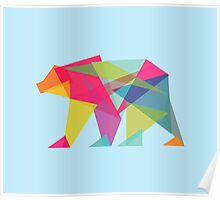 Fractal Bear - neon colorways Poster
