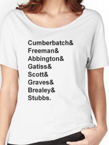 Sherlock cast member names  Women's Relaxed Fit T-Shirt