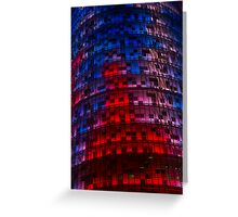 Bright Blue, Red and Pink Illumination - Agbar Tower, Barcelona, Catalonia, Spain Greeting Card