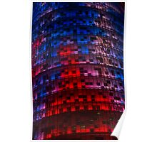 Bright Blue, Red and Pink Illumination - Agbar Tower, Barcelona, Catalonia, Spain Poster