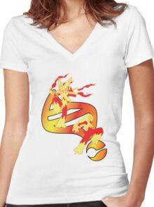 Mega Blaziken Evolution Women's Fitted V-Neck T-Shirt