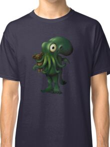 H P Lovecraft Baby Cthulhu with Teddy Classic T-Shirt