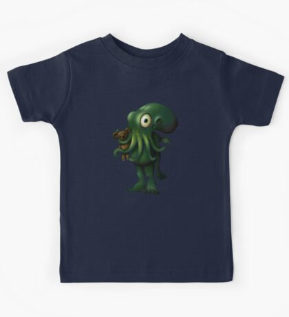 H P Lovecraft Baby Cthulhu with Teddy Kids Tee