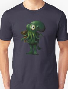 H P Lovecraft Baby Cthulhu with Teddy T-Shirt