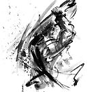 Samurai ronin wild fury bushi bushido martial arts sumi-e original ink painting artwork by Mariusz Szmerdt