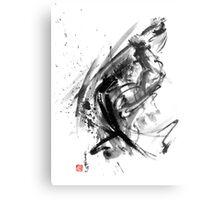 Samurai ronin wild fury bushi bushido martial arts sumi-e original ink painting artwork Metal Print