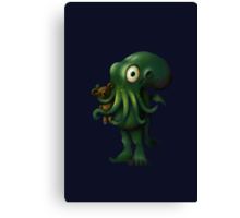 H P Lovecraft Baby Cthulhu with Teddy Canvas Print