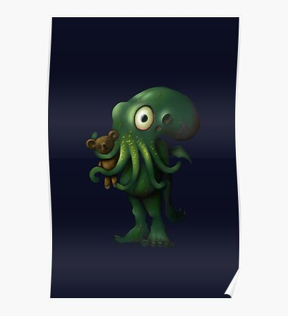 H P Lovecraft Baby Cthulhu with Teddy Poster