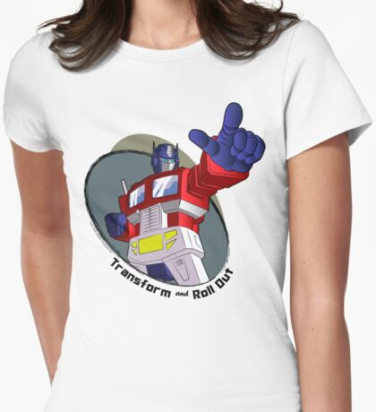 Optimus Prime - Transform and Roll Out Womens Fitted T-Shirt