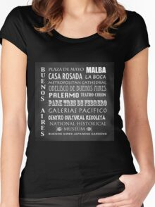 Buenos Aires Famous Landmarks Women's Fitted Scoop T-Shirt