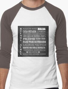 Buenos Aires Famous Landmarks Men's Baseball ¾ T-Shirt