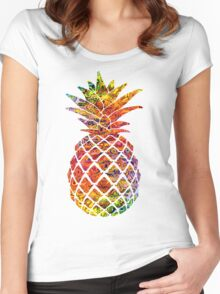 Multicolour Pattern Pineapple Women's Fitted Scoop T-Shirt