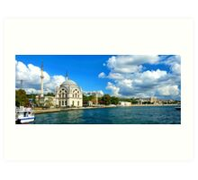Bosphorus and Dolmabahce Mosque, Istanbul, Turkey Art Print