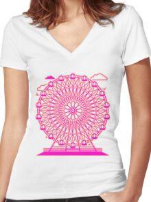 Ferris_Wheel Women's Fitted V-Neck T-Shirt