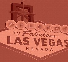 Las Vegas sign on brick wall by creativedesignz
