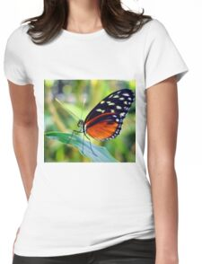 Macro Orange and Black Butterfly Womens Fitted T-Shirt