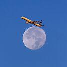 Sunrise Flight Over Full Moon by Alex Preiss