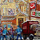 MONTREAL MEMORIES CORNER SNACK BAR MOE'S DINER HOCKEY ART by Carole  Spandau