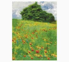 Hillside With Flowers And Trees Kids Clothes