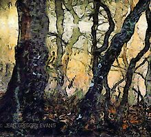 Dewey Dawn Wandering In Wistful Woods by Jean Gregory  Evans