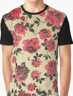 Red Rustic Roses on Faux Gold Graphic T-Shirt