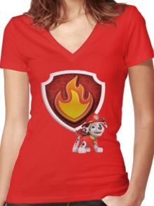 Marshall's Badge Women's Fitted V-Neck T-Shirt