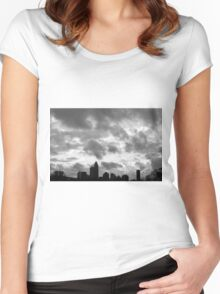 Charlotte Skyline - B&W Women's Fitted Scoop T-Shirt