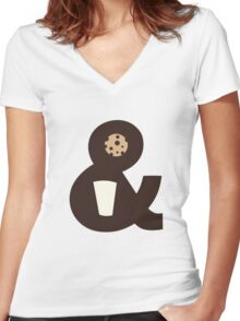Milk & Cookies Women's Fitted V-Neck T-Shirt