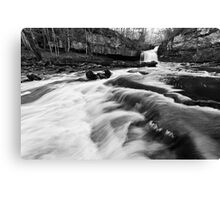 West Burton Waterfalls (B&W) Canvas Print
