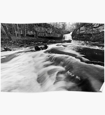 West Burton Waterfalls (B&W) Poster