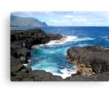 Blue Ocean Waters of Queens Bath on Kauai Hawaii Canvas Print
