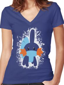 Mudkip Splatter Women's Fitted V-Neck T-Shirt