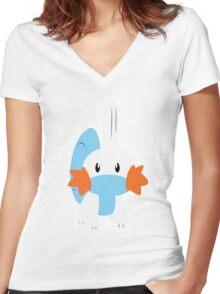 Mudkip Splatter Women's Fitted V-Neck T-Shirt