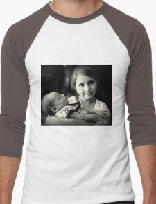 Little Girl Holding Baby Men's Baseball ¾ T-Shirt