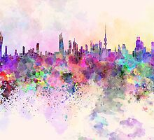 Kuwait City skyline in watercolor background by Pablo Romero