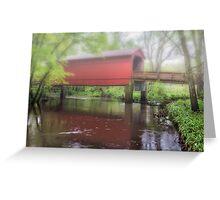 Sugar Creek Covered Bridge Misty reflection, near Route 66, Glenarm, IL Greeting Card