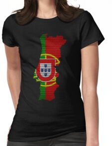 Portugal Flag and Map Steel Metal Hole Womens Fitted T-Shirt