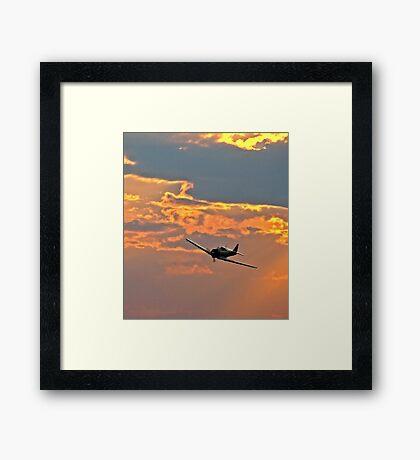 Japanese Zero Fighter Plane at Sunset Framed Print