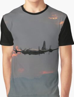 B-29 Bomber Plane flying at Sunset Graphic T-Shirt