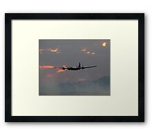 B-29 Bomber Plane flying at Sunset Framed Print