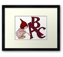 ABC's, Gnome Girl With Alphabet Letter, Children Framed Print