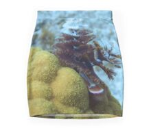 Tiger Striped Christmas Tree Worm on Coral Reef Mini Skirt