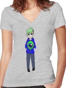 Chibi Jacksepticeye and sam Women's Fitted V-Neck T-Shirt