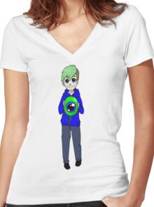 Chibi Jacksepticeye and sam Women's Fitted V-Neck T-Shirt