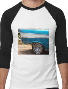 Chevrolet Blue and White Classic Bel Air Muscle Car Men's Baseball ¾ T-Shirt